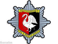 """4"""" BUCKINGHAMSHIRE FIRE RESCUE CREST UK HELMET BUMPER DECAL STICKER USA MADE"""