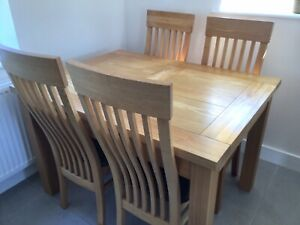 Solid Ash Extendable Dining Table And 4 Chairs