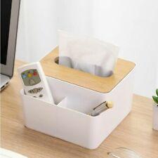 Wooden Cover Plastic Tissue Box Paper Holder Dispenser Organizer Kitchen Storage