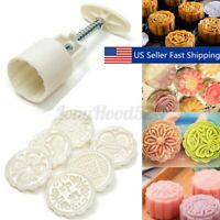 6 Style Stamps 50g Round Flower Moon Cake Mold Mould Set Mooncake Decor