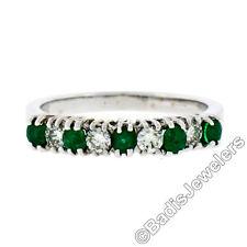 18k White Gold 1.36ctw Alternating Round Diamond & Emerald Wedding Band Ring 6.5