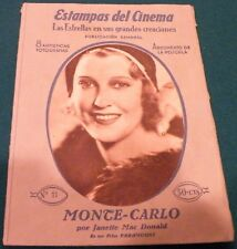 Monte Carlo (1930) Janette Macdonald  Movie Spanish Photoplay 16 pages