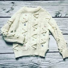 Vintage Boundary Waters Girl's Size M Ivory Sweater Floral