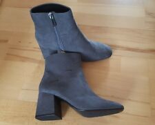 ZARA GREY HIGH HEEL ANKLE BOOTS WITH WAVY DETAIL BNWT SIZE UK 6 EU 39