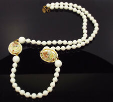 Vtg Miriam Haskell White Glass Bead Painted Flower Beads Necklace, Pat 3427691