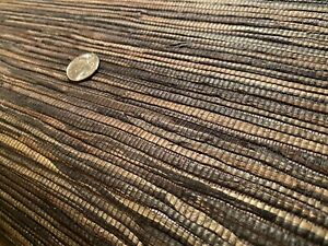 14yd THIBAUT 3687 Bamboo Weave Charcoal Hand Craft Bamboo Wallpaper $465 Retail