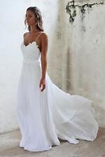 Sexy Backless Spaghetti Beach Wedding Dress Lace Chiffon White Ivory Bridal Gown