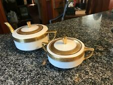 GORGEOUS WILLETS BELEEK TEAPOT AND SUGAR BOWL! CREAMY WHITE AND GOLD