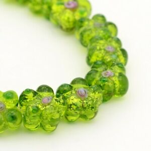 "5Strands Handmade Silver Foil Lampwork Flower Beads Jewelry Making 14x10mm 13.7"""