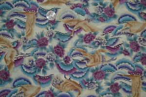 """Cotton quilting fabric 44"""" x 3.2 yards, Asian themed floral & crane print"""