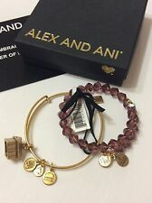 ALEX AND ANI Plum Mirage Wrap And House 2 Set Bracelet Wrap in Gold Finish
