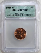 1955 S BU Lincoln Wheat Cent 1c Coin Certified ICG MS67 RD (Red) Wheatie K