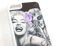 for iPhone 5C - Purple Marilyn Monroe Skull Art Rose Hard TPU Rubber Gummy Case