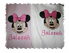 Minnie Mouse Personalized Baby Infant Toddler Bib & Blanket Set Any Color Bow