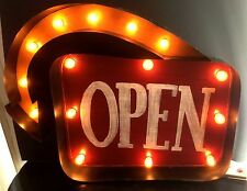 Primitive Vintage Light Up Marquee Sign-OPEN Arrow Sign