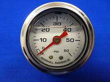 """Marshall Gauge 0-60 psi Fuel Pressure Oil Pressure White 1.5"""" Diameter Liquid"""