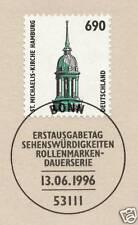 BRD 1996: Michaeliskirche Hamburg Nr. 1860 mit Bonner Ersttagsstempel! 1A 1608