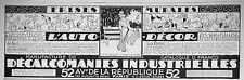 PUBLICITÉ 1926 L'AUTO-DÉCOR DÉCALCOMANIES INDUSTRIELLES FRISES MURALES PEINTURE
