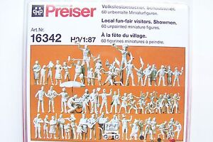 HO Preiser 60 UNPAINTED Circus Performers and Visitors : Figures KIT # 16342
