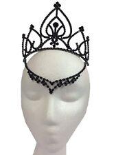 Black Fairy Tiara Medieval V Drop Queen of Hearts Halloween Costume Accessory