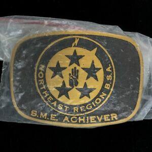 New Northeast Region BSA Sme Achiever Max Silber Boy Scouts BSA Vtg Belt Buckle