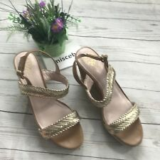 Vince Camuto Tazma Wedges Sandal Shoes Size 9.5 Glitter brown Woven metallic Sb
