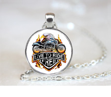 Live To Ride Free PENDANT NECKLACE Chain Glass Tibet Silver Jewellery