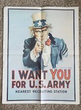 """Vintage Paper Recruiting Poster I Want You Army Uncle Sam 1975 Vietnam 22"""" x 28"""""""