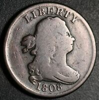 1808 DRAPED BUST HALF CENT - With ROTATED REVERSE!