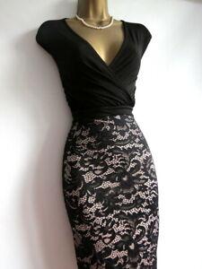 Brand new Lipsy black lace bodycon dress size 16