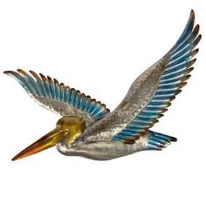 "DeJon Metal Wall Decor Beautiful Blue/Silver Colored Flying Pelican 20"" X13"""