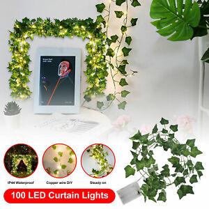 Artificial Hanging Plant LED Light 32FT Ivy Vine Garland Fake Home Garden Decor