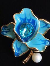 BLUE PEARL RHINESTONE DAFFODIL ROSE LILY IRIS ORCHID FLOWER PIN BROOCH JEWELRY
