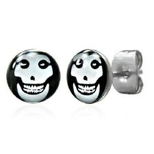 New Pair of Mens Black Evil Face Stud Earrings Boys Earing (A35)