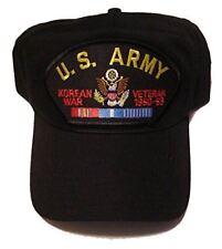 U.S. ARMY KOREAN WAR Veteran Hat with ribbons and Army Crest Cap - BLACK - Veter