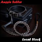 Leather Lead Leash Collar Pet Strong Safety Solid 120 cm /1.2mLarge Dog Black
