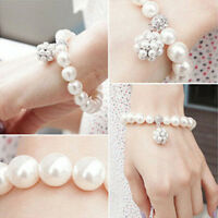 Vintage Multilayer Flower Bracelet Pearl Chain Bangle Waistband Jewelry VHD