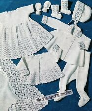 1950's BABY LAYETTE with SHAWL / 3ply  - COPY vintage baby pattern