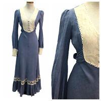Vintage VTG 1970s 70s Gold Black Lace Maxi Slip Dress