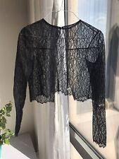 1f828061f1b428 Oscar De La Renta Black Lace Long Sleeves Crop Top Blouse Size S