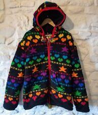 Gringo Hoody Jacket Rainbow Hearts Stars Wool Hand Knitted Fleece Lined