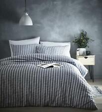 Grey Seersucker Striped Duvet Cover Set Bedding Bed Set Machine Washable