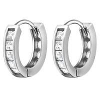 Creolen mit Steinchen 925 Silber Damen Sterling echt Ohrringe Frauen zum Klappen