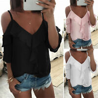 Women Cold Shoulder Ruffle Short Sleeve Tunic Tops Beach Loose T Shirt Blouse