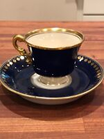 Excellent Antique Ginomi Cobalt Blue and Gold Cup and Saucer