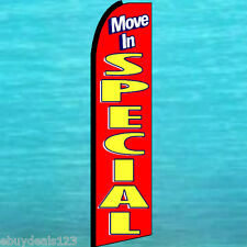 MOVE IN SPECIAL FEATHER FLUTTER FLAG Real Estate Advertising Sign Banner Swooper
