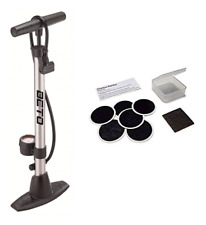 Beto Track Pump Bike Pump With Gauge With Raleigh Glueless Puncture Patch Kit