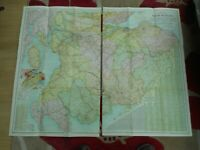 100% ORIGINAL LARGE SOUTH SCOTLAND  FOLDING MAP ON LINEN BY BACON C1890/S