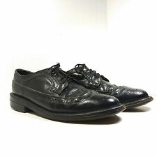 Vintage Men's Black Leather Oxfords Wingtip Shoes US size 8.5 D