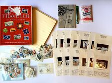 Stamp Collecting Lot Vintage Traveler Stamp Album by HE Harris - Hinges,Stamps